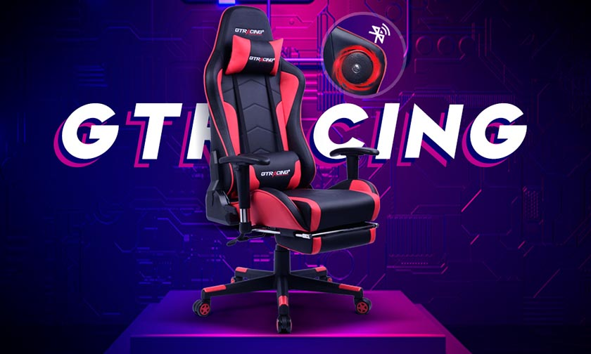 GTRACING Gaming Chair with Footrest and Bluetooth Speakers Music Video Game Chair