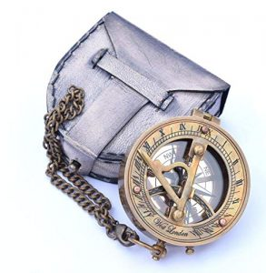 neovivid brass sundial compass with chain leather case marine nautical 1 1