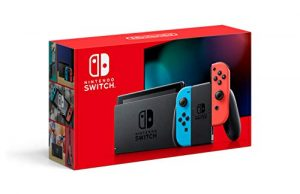 nintendo switch with neon blue and neon red joycon hac 001 01 1