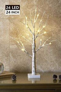 eambrite 2ft 24lt warm white led battery operated birch tree light tabletop 1
