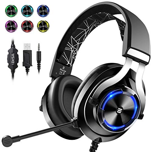 EKSA USB Gaming Headset PS4 Xbox One Headset with Noise Cancelling Mic & RGB Light - Gaming Headphones for PC, Laptop, Xbox One Controller (Adapter Not Included), PlayStation 4, Nintendo Switch, Black
