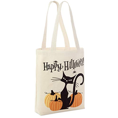 "Hallmark 13"" Large Halloween Tote Bag (Black Cat and Pumpkins) Reusable Canvas Bag for Trick or Treating, Grocery Shopping and More"
