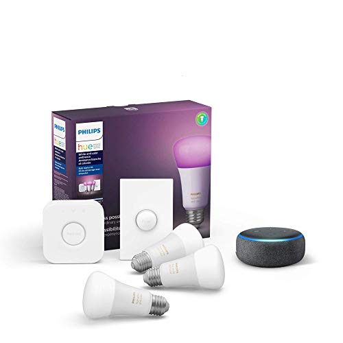 Philips Hue White & Color LED Smart Button Starter Kit bundle with Echo Dot (3rd Gen) Charcoal