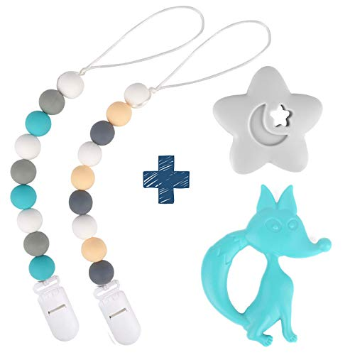 Silicone Pacifier Clip by Dodo Babies Pack of 2 + Teething Toy, Premium Teething Bead for Boys or Girls Universal Holder Leash for Pacifiers, Teething Toy or Soothie, Baby Shower Gift Set