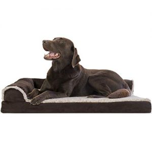 furhaven pet dog bed deluxe orthopedic two tone plush and suede l shaped