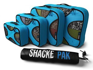 shacke pak 5 set packing cubes travel organizers with laundry bag aqua