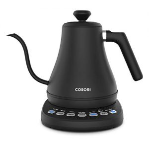 cosori electric gooseneck kettle with 5 variable presets pour over coffee