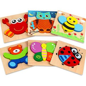dreampark wooden jigsaw puzzles 6 pack animal puzzles for toddlers kids 1 2