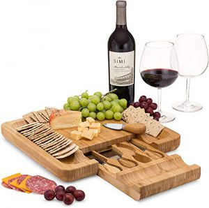 bamboo cheese board set with cutlery in slide out drawer including 4