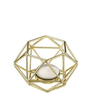 fashioncraft 8748 2 gold tone geometric hexagon tealight candle holders
