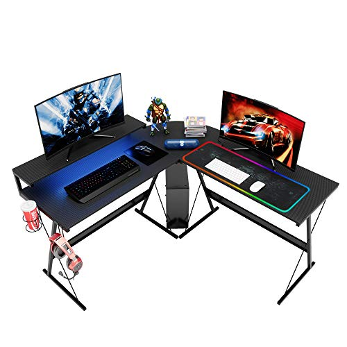 Bestier L Shaped Led Gaming Computer Desk