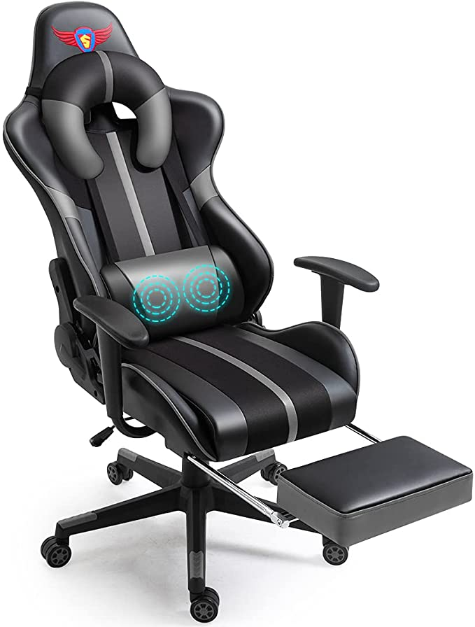 WQSLHX Gray Gaming Chair with Massage